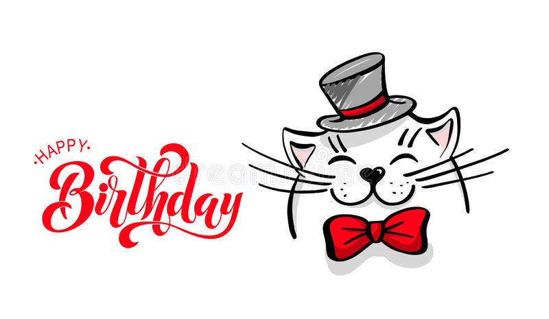 Kawaii, a contented white cat with a hat and bow tie. lettering happy birthday. Greeting card, drawing for your design. Hand drawn stock illustration