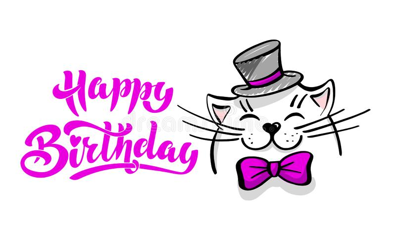 Kawaii, a contented white cat with a hat and bow tie. lettering happy birthday. Greeting card, drawing for your design. Hand drawn vector illustration