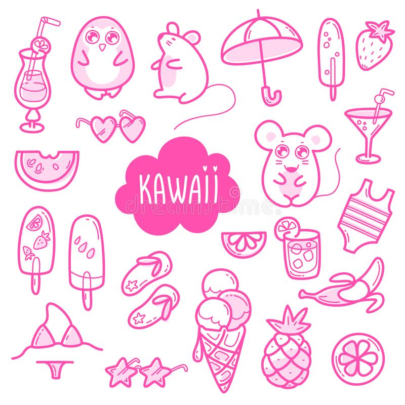 Kawaii cute collection of super cute animals penguin, mouse and summer sweet fruits, coctals and ice-cream and summer royalty free illustration