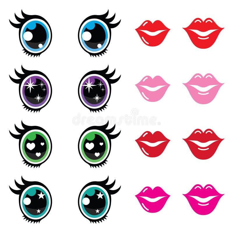 Kawaii cute eyes and lips icons set, Kawaii character. Kawaii body parts - big eyes, lips icons isolated on white royalty free illustration