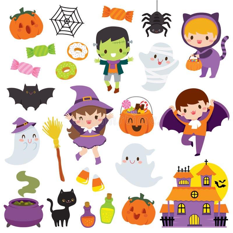 Free Kawaii Cute Halloween Clipart Set Royalty Free Stock Photo - 158185315