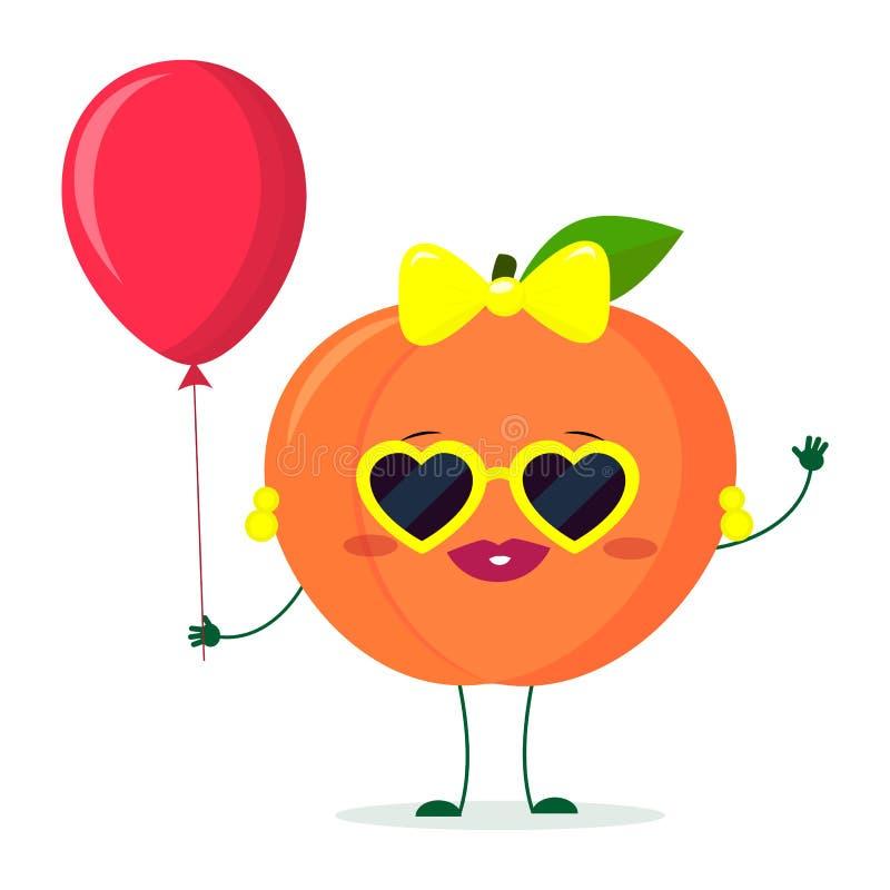 Kawaii Cute Peach Fruit Cartoon Character Sunglasses Hearts