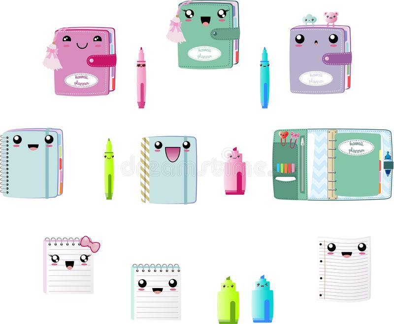 Kawaii cute Planners Clipart Vector EPS, notebook, pen, marker, book with tassel and paperclips royalty free illustration