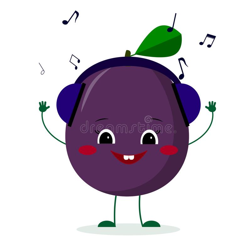 Kawaii cute plum purple fruit cartoon character in glasses dances to music. Logo, template, design. Vector illustration, a flat. Style stock illustration