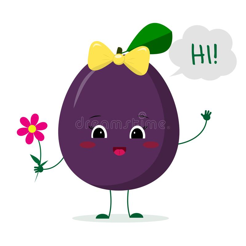 Kawaii cute plum purple fruit cartoon character with a pink bow holding a flower and welcomes. Logo, template, design. Vector stock illustration