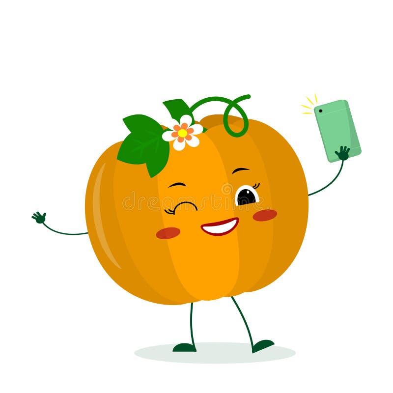 Kawaii cute pumpkin vegetable cartoon character with a smartphone and does selfie. Logo, template, design. Vector vector illustration