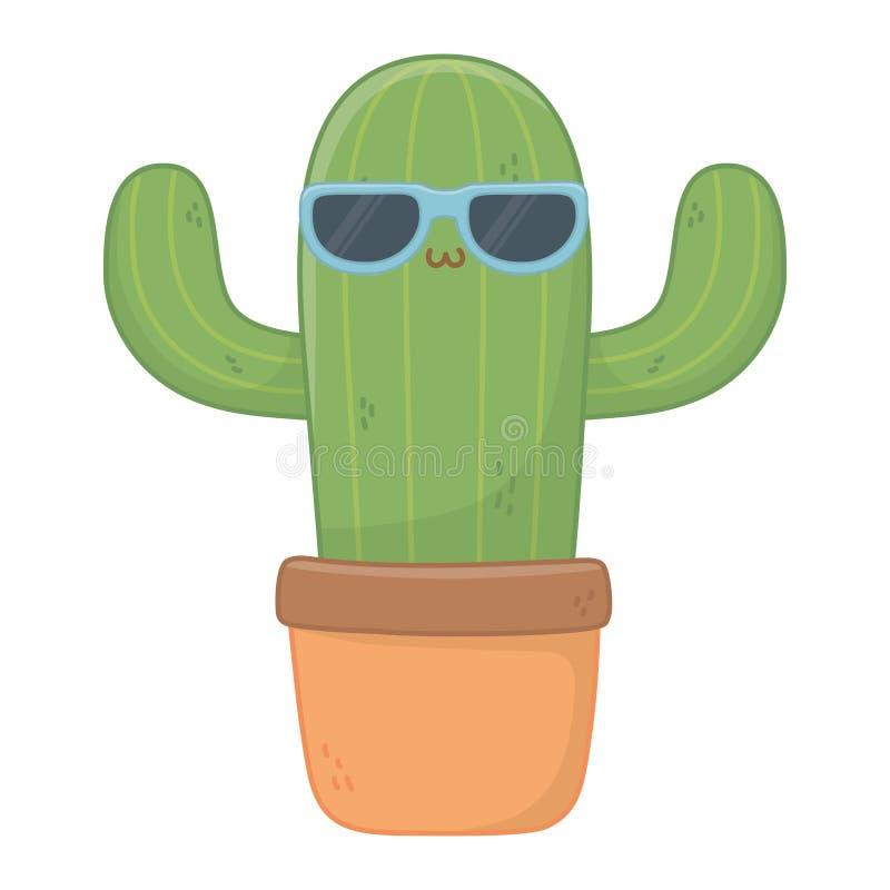 Kawaii del diseño de la historieta del cactus libre illustration