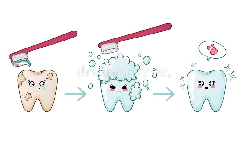 Kawaii dental care. Bad tooth and shining clean kawaii tooth with speech bubble, teeth cleaning process, Cute cartoon characters - oral hygiene, concept of royalty free illustration