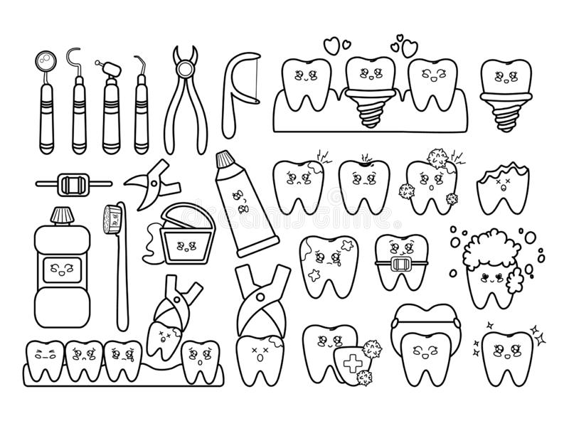 Kawaii dental care. Black and white set of kawaii teeth, dentistry tools, with different emodji, cute cartoon characters - treatment and oral, dental hygiene stock illustration