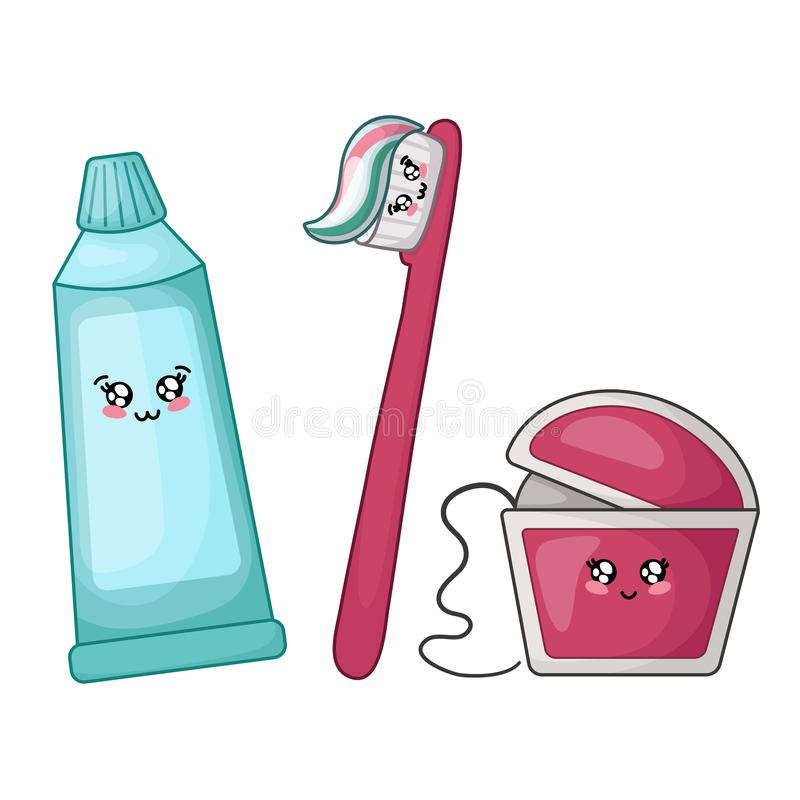 Kawaii dental care. Kawaii dental floss, toothpaste and brush - best friends of teeth, cute cartoon characters on white, isolated objects. Dentistry and tooth vector illustration