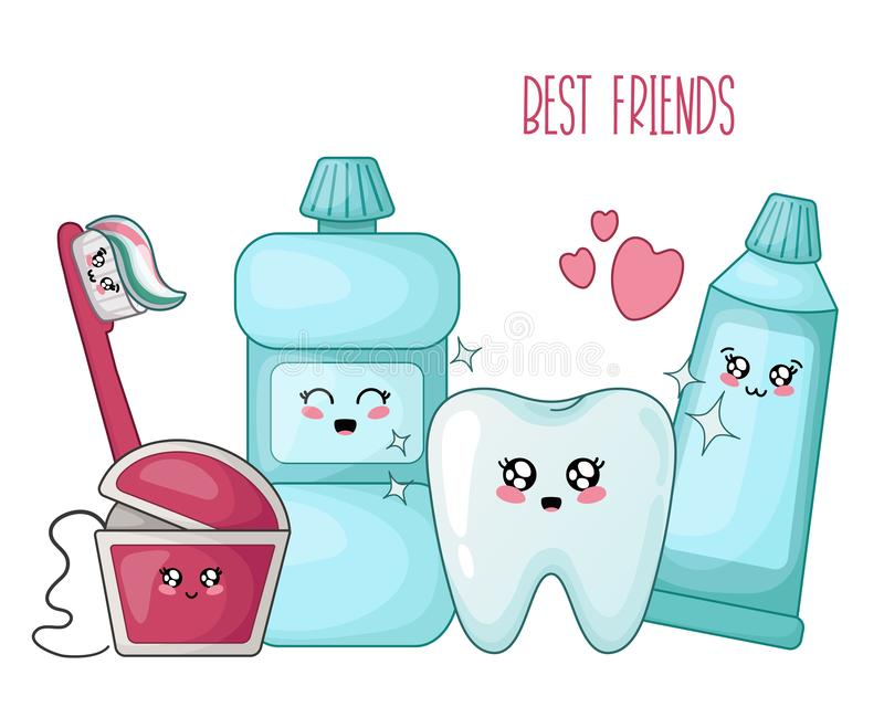 Kawaii dental care. Kawaii healthy tooth and dental floss, toothpaste, brush - best friends of teeth, cute cartoon characters on white, isolated objects stock illustration
