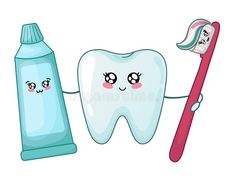 Kawaii dental care. Kawaii healthy tooth and toothpaste and brush - best friends of teeth, cute cartoon characters on white, isolated objects. Dentistry and royalty free illustration