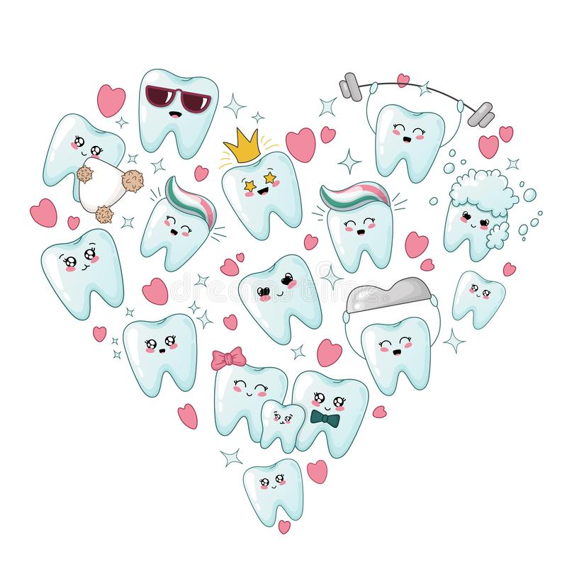 Cute Cartoon Tooth And Heart. Stock Vector