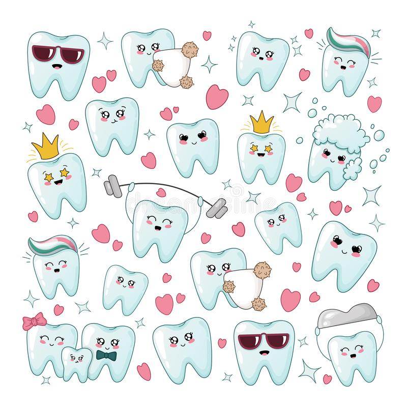 Kawaii dental care. Set of kawaii healthy tooth with different emodji, square composition, cartoon characters - treatment and oral dental hygiene, dental care vector illustration