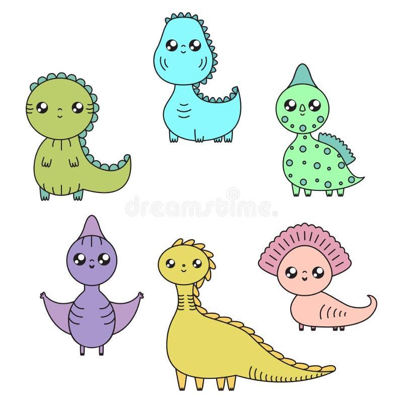 Kawaii dinosaury ustawiający postać z kreskówki dzieci kolorowa graficzna ilustracja royalty ilustracja