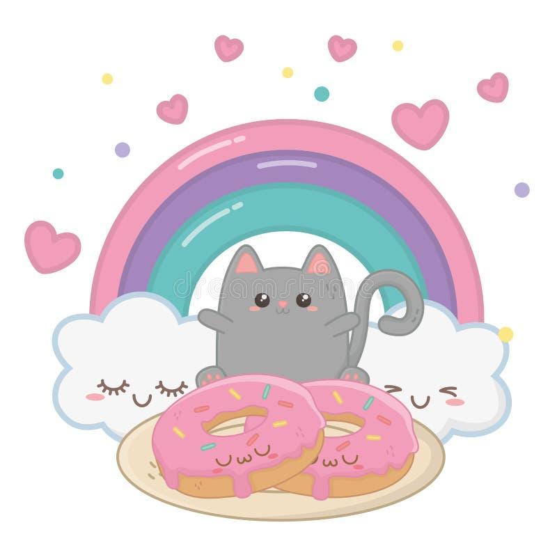 Kawaii do projeto dos desenhos animados do gato ilustração stock