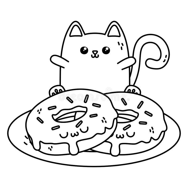 Kawaii do projeto dos desenhos animados do gato ilustração royalty free