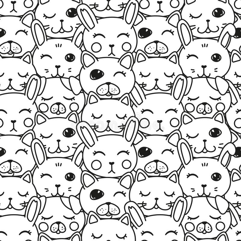 Free Kawaii Doodle Pets Black And White Seamless, Cute Domestic Animals, Lovely Cartoon Drawing Cat, Dog, Puppy, Bunny, Editable Vector Stock Photo - 172203480