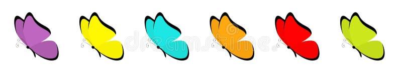 Набор значка бабочки Красочные голубые красные желтые зеленые оранжевые фиолетовые крылья r Насекомое летания иллюстрация штока