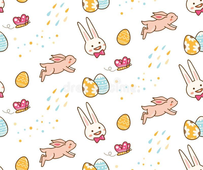 Kawaii easter kanin med sömlös bakgrund för ägg royaltyfri illustrationer