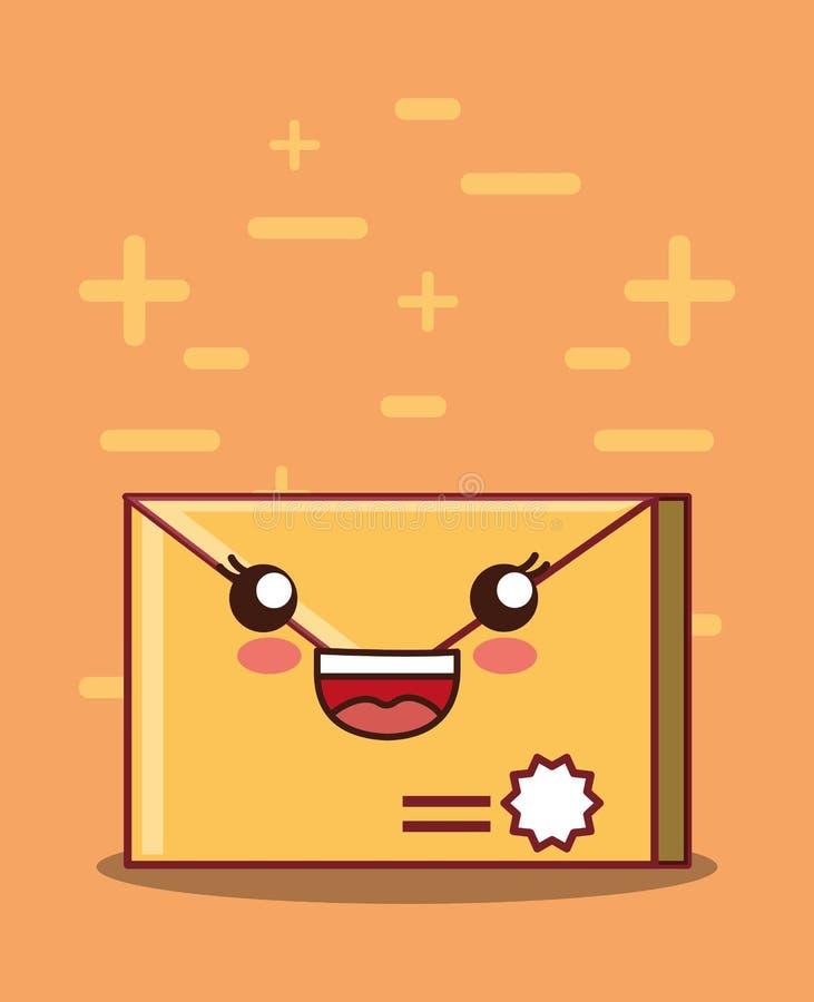 Kawaii envelope icon vector illustration