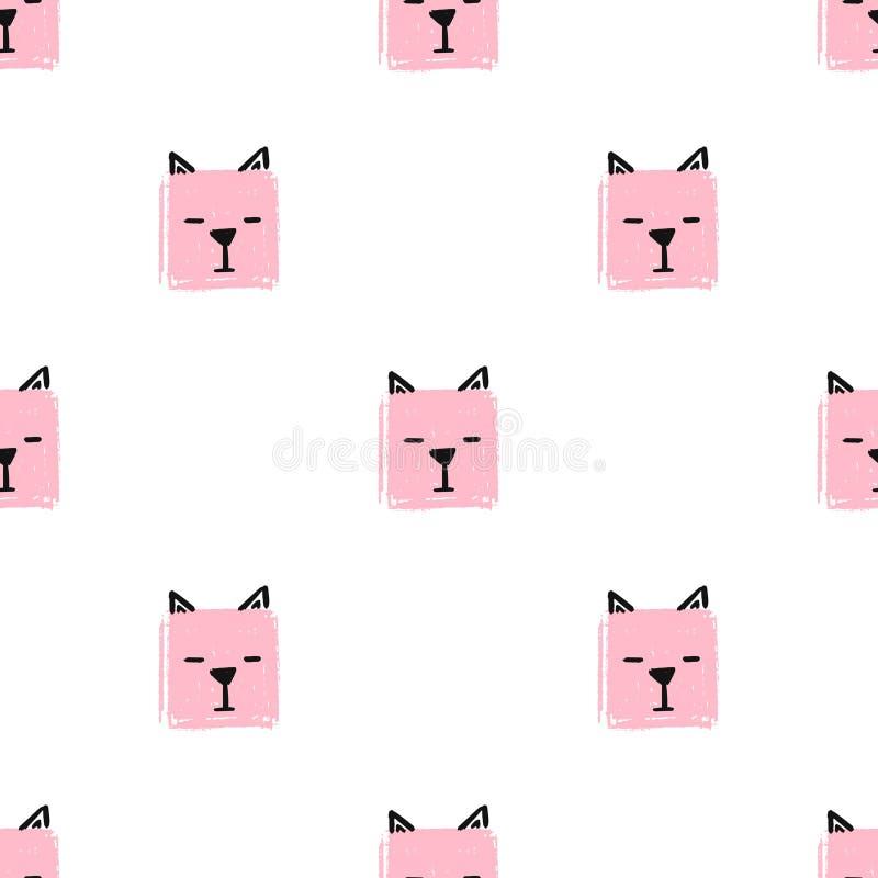 Kawaii esquadra o teste padrão sem emenda dos gatos Fundo da tração da mão do vetor com as caras dos gatos ilustração do vetor