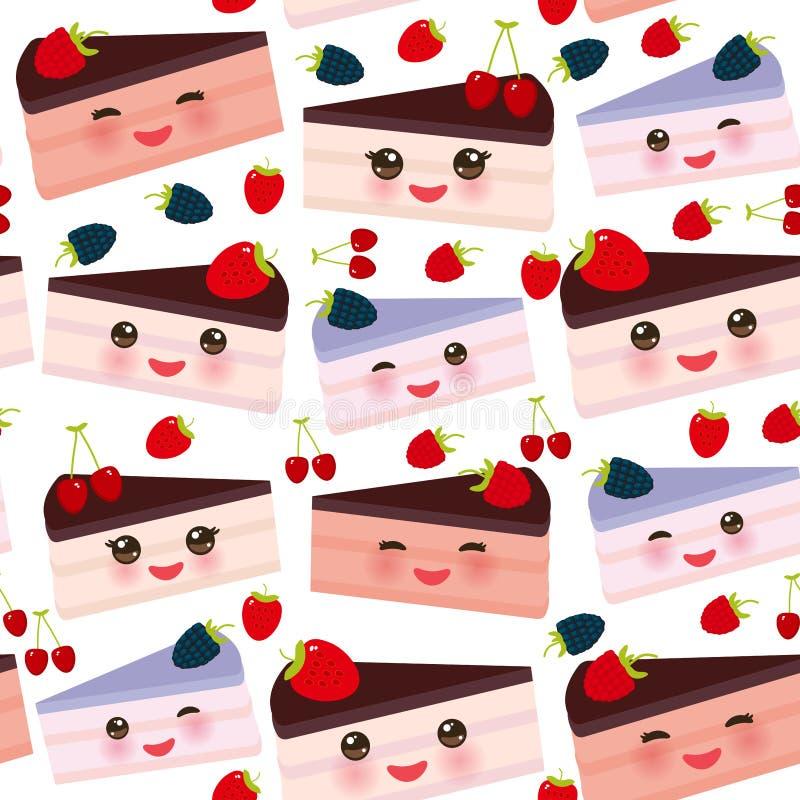 Kawaii för sömlös modell som söt kaka dekoreras med den ny jordgubben, rosa färgkräm och chokladisläggning, kaka med det nya blåb vektor illustrationer