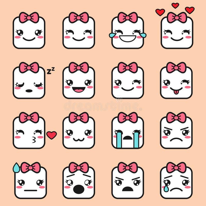 Kawaii faces icons royalty free illustration