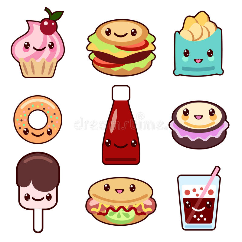 Kawaii fast food and fruit vector illustration