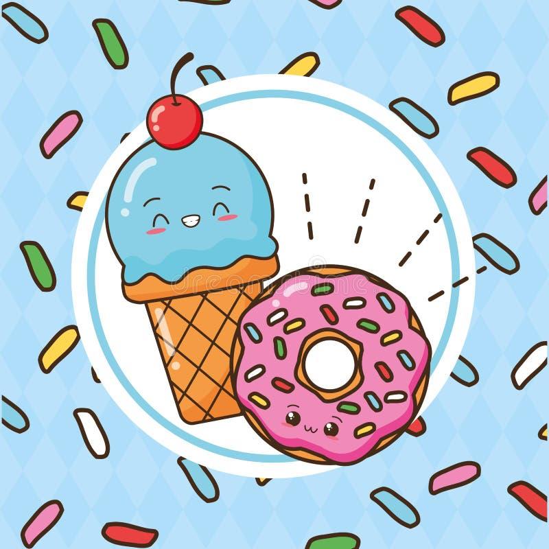 Kawaii fast food royalty free illustration