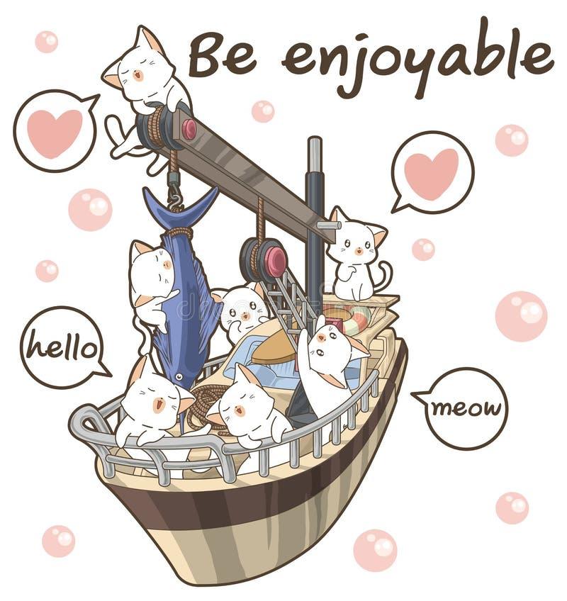 Kawaii fisherman cats on the ship. In cartoon style stock illustration