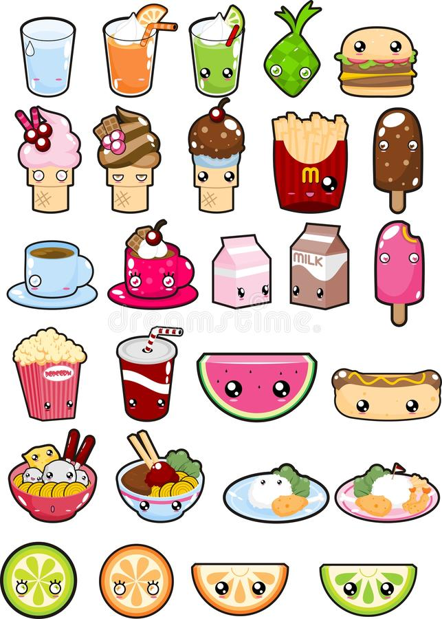 Great Download Kawaii Food And Beverages On White Background Stock Vector    Illustration Of Hamburger, Logo