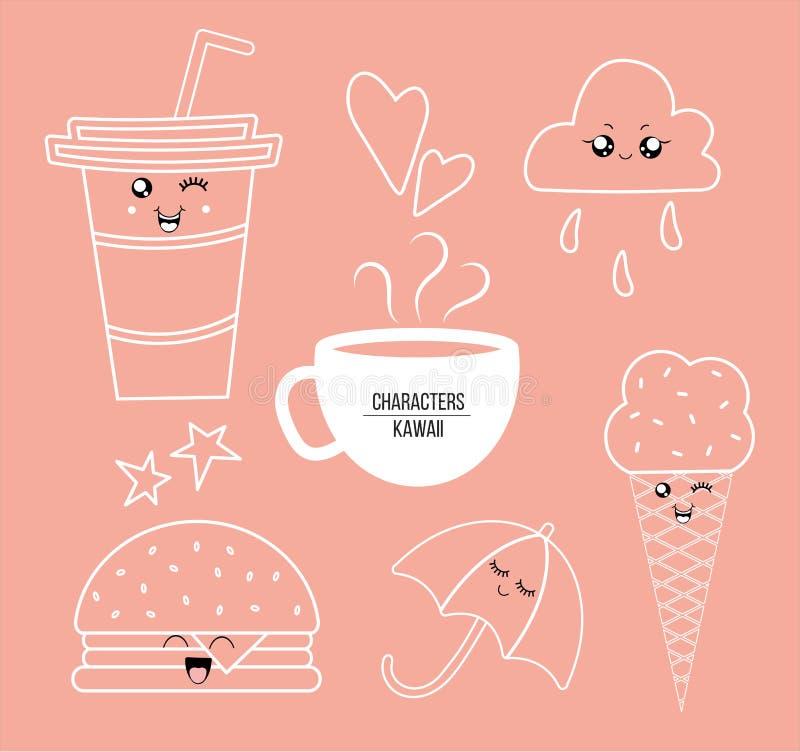 Kawaii food characters outline stock illustration