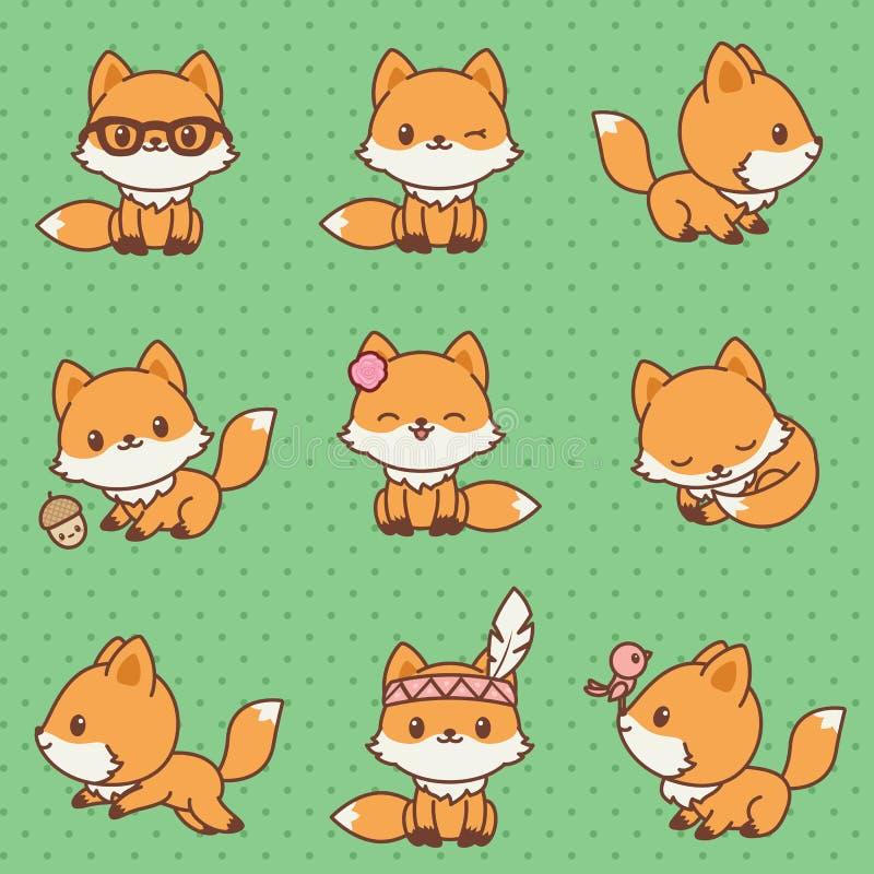 Kawaii foxes a coleção ilustração do vetor