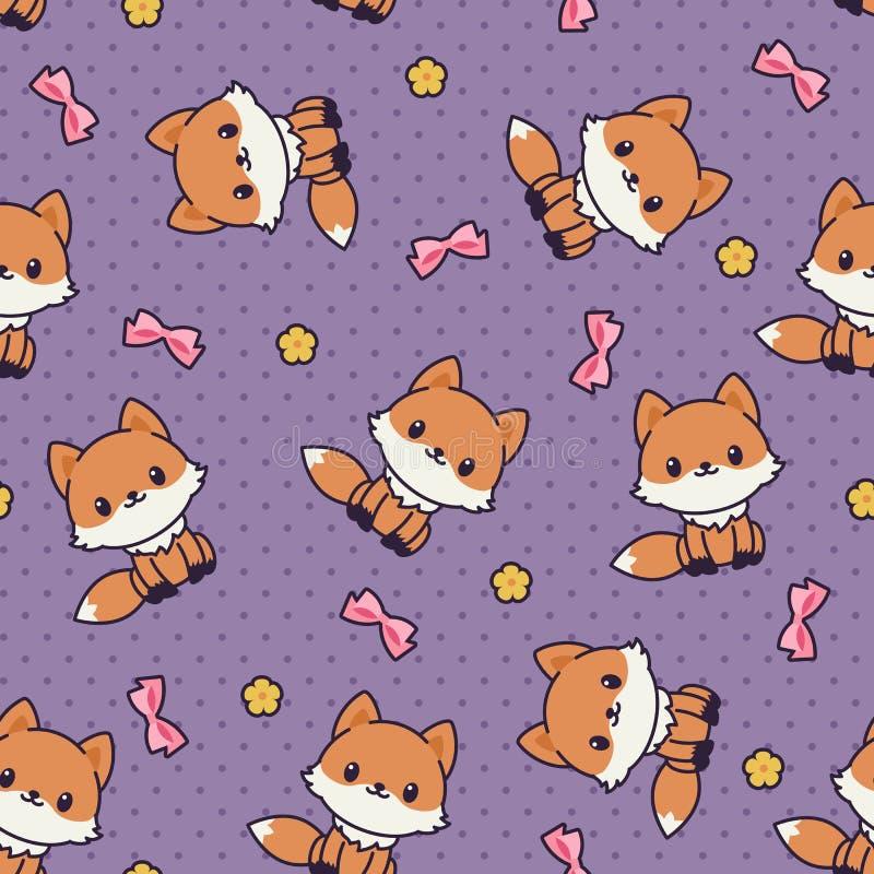 Kawaii foxes o teste padrão/papel de parede sem emenda do vetor ilustração do vetor