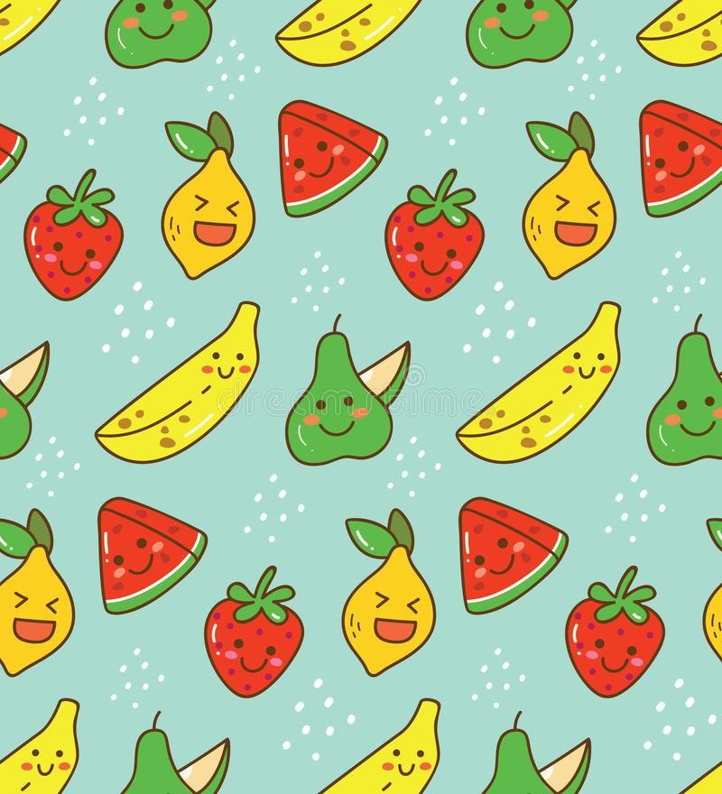 Kawaii fruit seamless pattern with lemon, strawberry etc. Kawaii fruit seamless pattern, can be use as wallpaper, design element, and other creative purposes stock illustration