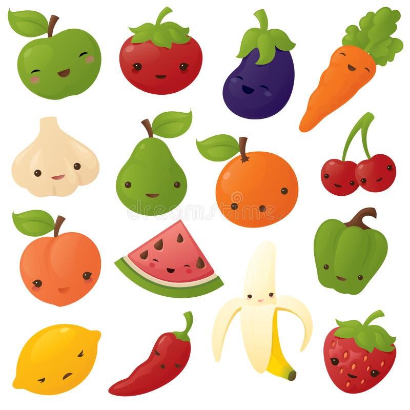 Kawaii fruit and Vegetables vector illustration