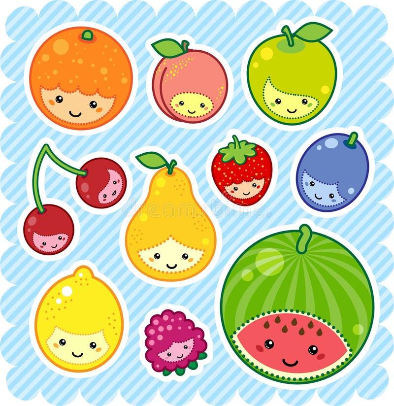 Kawaii fruits. Vector illustration of kawaii fruits royalty free illustration