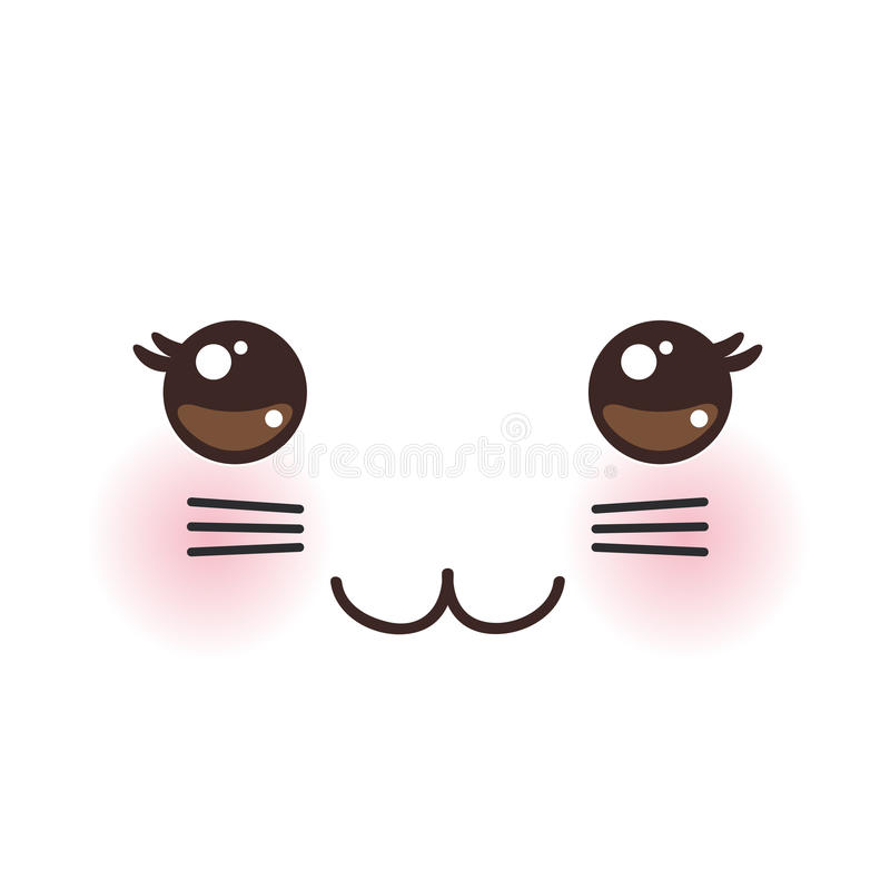 Free Kawaii Funny Cat Muzzle With Pink Cheeks And Big Black Eyes On White Background. Vector Stock Photography - 79964012