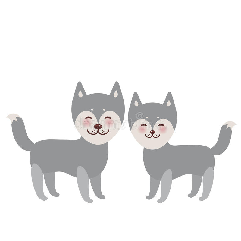 Kawaii funny gray husky dog, face with large eyes and pink cheeks, boy and girl isolated on white background. Vector. Illustration royalty free illustration
