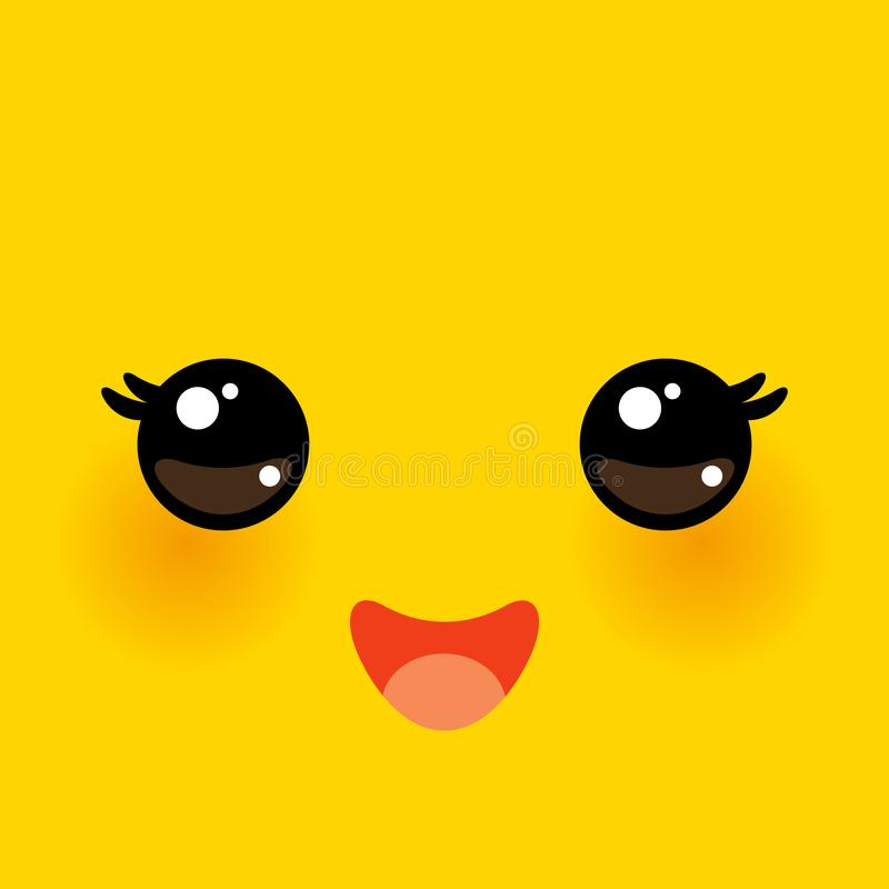 Kawaii funny muzzle with pink cheeks and big eyes Cute Cartoon Face on yellow orange background. Vector illustration. Kawaii funny muzzle with pink cheeks and vector illustration