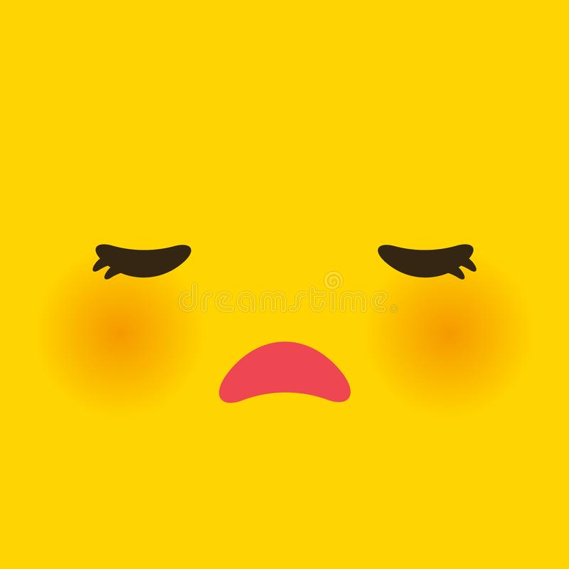 Kawaii Funny Muzzle With Pink Cheeks And Big Eyes Cute Cartoon Sad