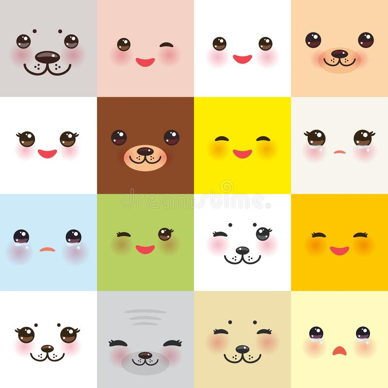 Free Kawaii Funny Muzzle Set Bear Cat Dog Hare Seal, Animal Faces Collection With Pink Cheeks And Winking Eyes On Square Background. Royalty Free Stock Image - 173201876