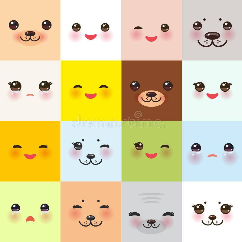 Kawaii funny muzzle set with pink cheeks and winking eyes on square background. Vector. Illustration stock illustration