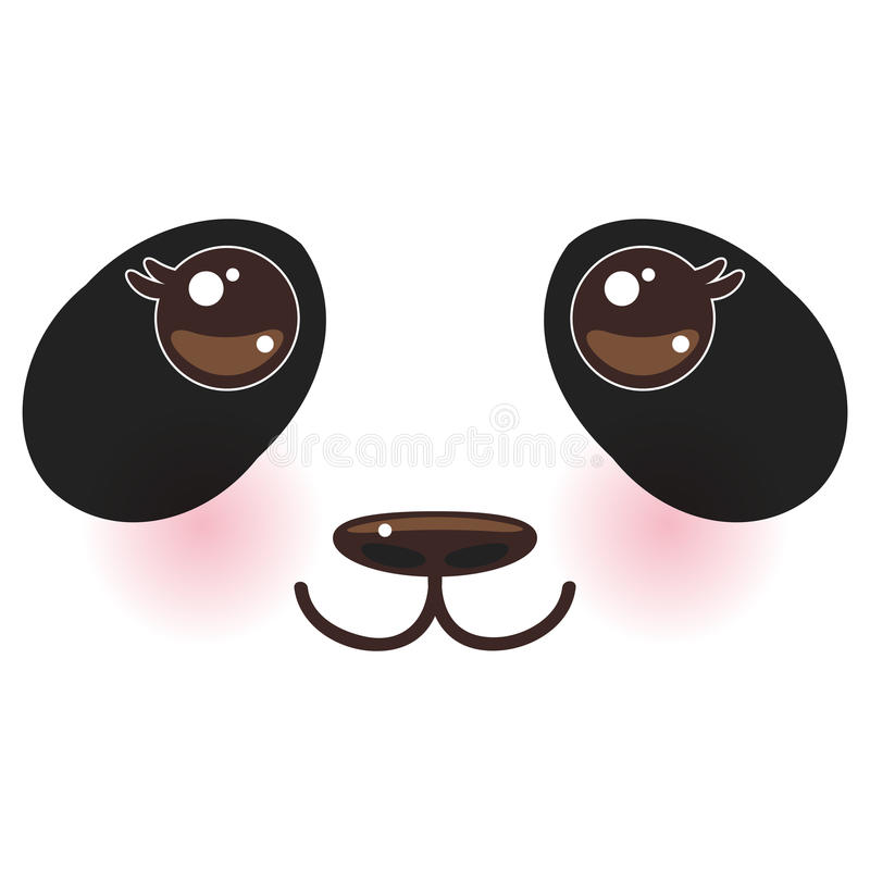 Kawaii funny panda white muzzle with pink cheeks and big black eyes on white background. Vector. Illustration royalty free illustration