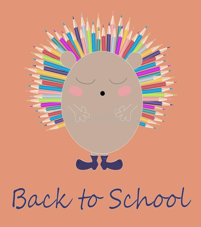 Vector children illustration, print with cute hedgehog with colorful pencils as needles . Back to school cartoon card. royalty free illustration