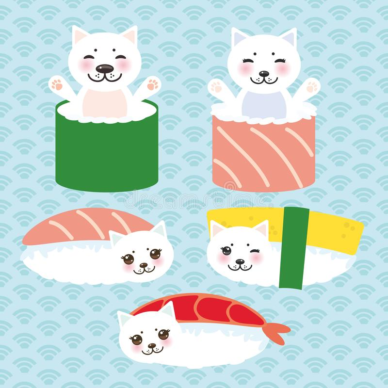 Kawaii funny Sushi set and white cute cat with pink cheeks and eyes, emoji. Baby blue background with japanese circle pattern. Vec vector illustration