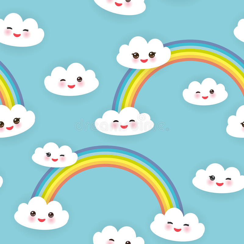 Kawaii funny white clouds set, muzzle with pink cheeks and winking eyes. Seamless pattern on blue background. Vector. Illustration stock illustration