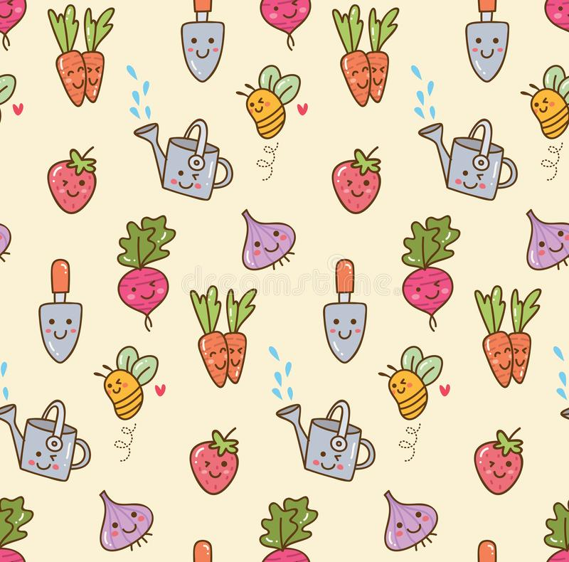 Kawaii gardening with fruit and vegetables seamless background vector illustration