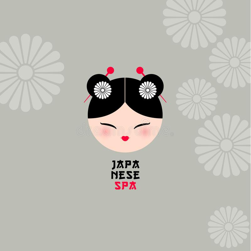 Kawaii Girl Face with beautiful hair style on a background with traditional Japanese floral motives. stock illustration